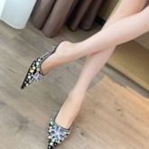 Rhinestone Stiletto Heel Closed Toe Slip-On Women's Prom Sandals