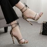 Open Toe Lace-Up Heel Covering Stiletto Heel Sexy Sandals