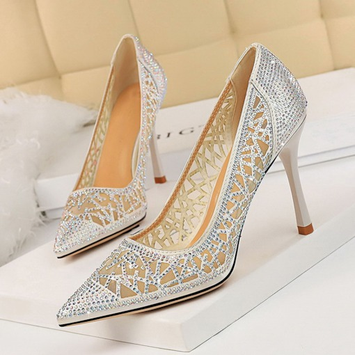 Pointed Toe Slip-On Rhinestone Banquet Women's Pumps