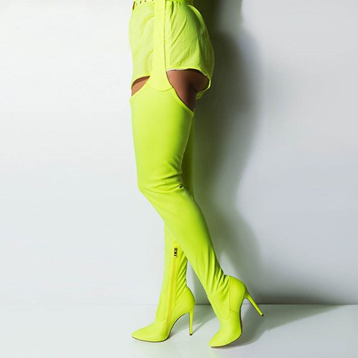 Neon Pointed Toe Side Zipper Stiletto Heel Thigh High Boots