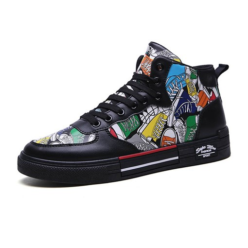 Elastic Band Color Block High Top Street Men's Skate Shoes