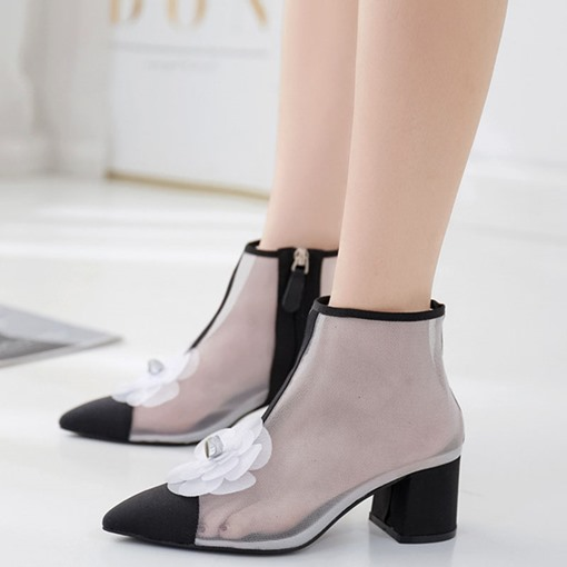 Side Zipper Chunky Heel Pointed Toe Appliques Ankle Boots