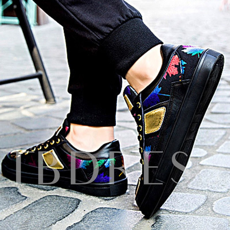 Patchwork Lace-Up Round Toe Letter Men's Skate Shoes