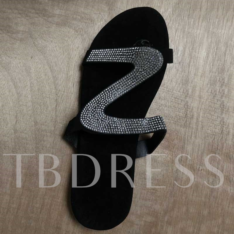 Slip-On Block Heel Rhinestone Flip Flop Beach Sandals