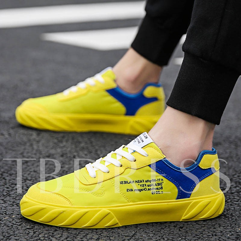 Neon Lace-Up Low-Cut Upper Flat Letter Round Toe Skate Shoes