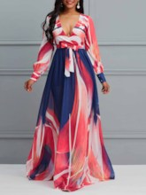 V-Neck Long Sleeve Print Pullover Women's Maxi Dress