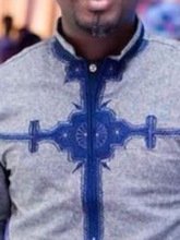 Ethnic Stand Collar Color Block African Fashion Print Long Sleeve Men's T-shirt