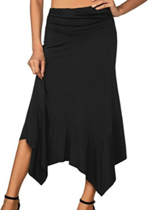 Plain Asymmetrical Ankle-Length Western Women's Skirt