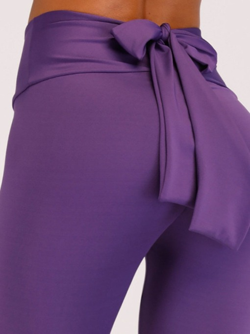 Bowknot Plain Women's Leggings