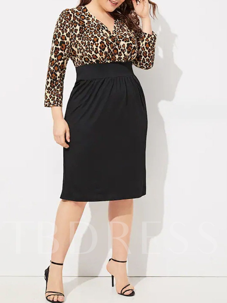 Plus Size Leopard Print Western Skirt Pullover Women's Two Piece Sets