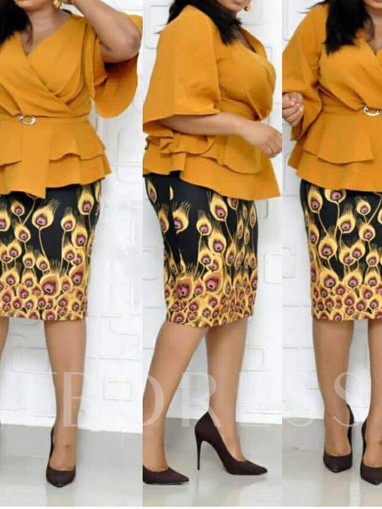 Plus Size Skirt Print Western V-Neck Women's Two Piece Sets