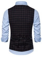 Plaid Print Double-Breasted Men's Waistcoat