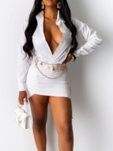 Long Sleeve Above Knee V-Neck Bodycon Women's Bodycon Dress