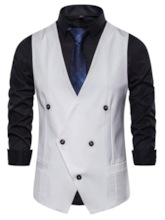 Fashion V-Neck Double-Breasted Plain Pocket Button Spring Men's Waistcoat