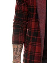 Casual Plaid Print Mid-Length Color Block Hooded Long Sleeves Loose Men's Trench Coat