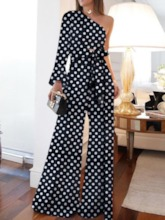 Full Length Polka Dots Western Lace-Up Wide Legs Women's Jumpsuit