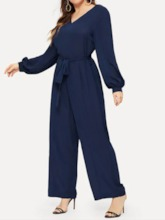 Plus Size Fashion Lace-Up Plain Full Length Wide Legs Women's Jumpsuit