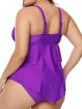 Plus Size Sexy Plain Tankini Set Patchwork Women's Swimwear