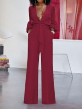 Plain Lace-Up Full Length Fashion Loose Women's Jumpsuit