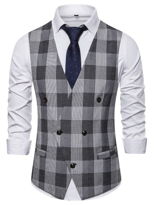 Casual Plaid V-neck British Style Vest Color Block Print Fashion Men's Waistcoat