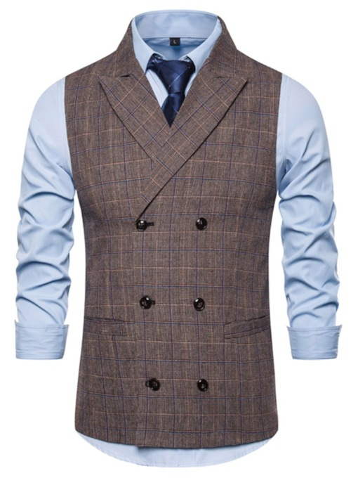 Fashion Double-Breasted Notched Lapel Color Block Pocket Fall Men's Waistcoat