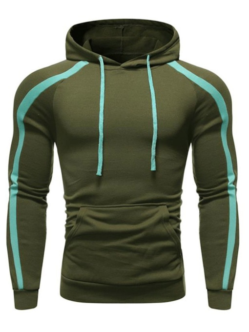 Casual Cotton Blends Color Block Pullover Pocket Long Sleeves Slim Fit Regular Men's Hoodies