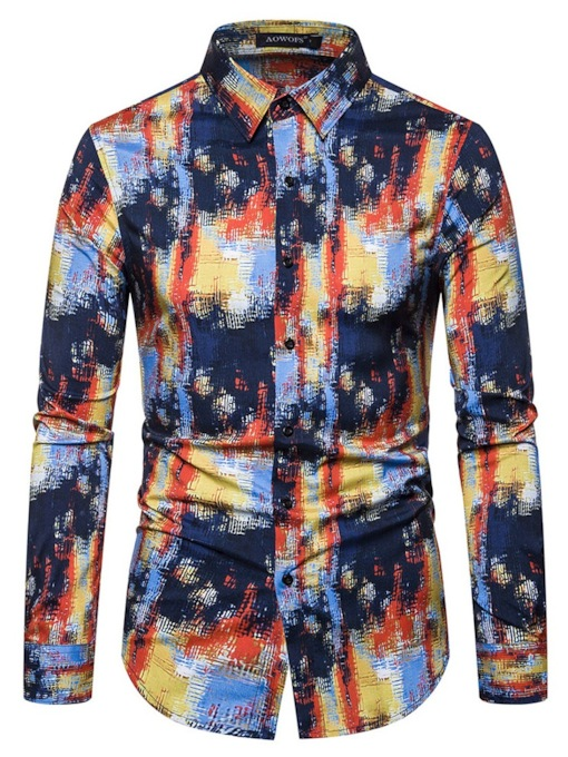 Fashiom Slim Fit Color Block Button Lapel Regular Fall Men's Shirt
