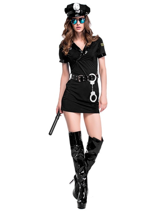 Belt Short Sleeve Women's Police Costume