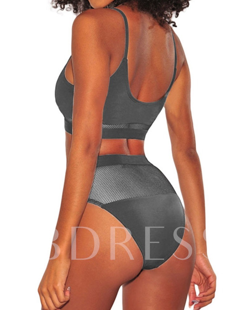 Sexy Patchwork Tankini Set Plain Women's Swimwear