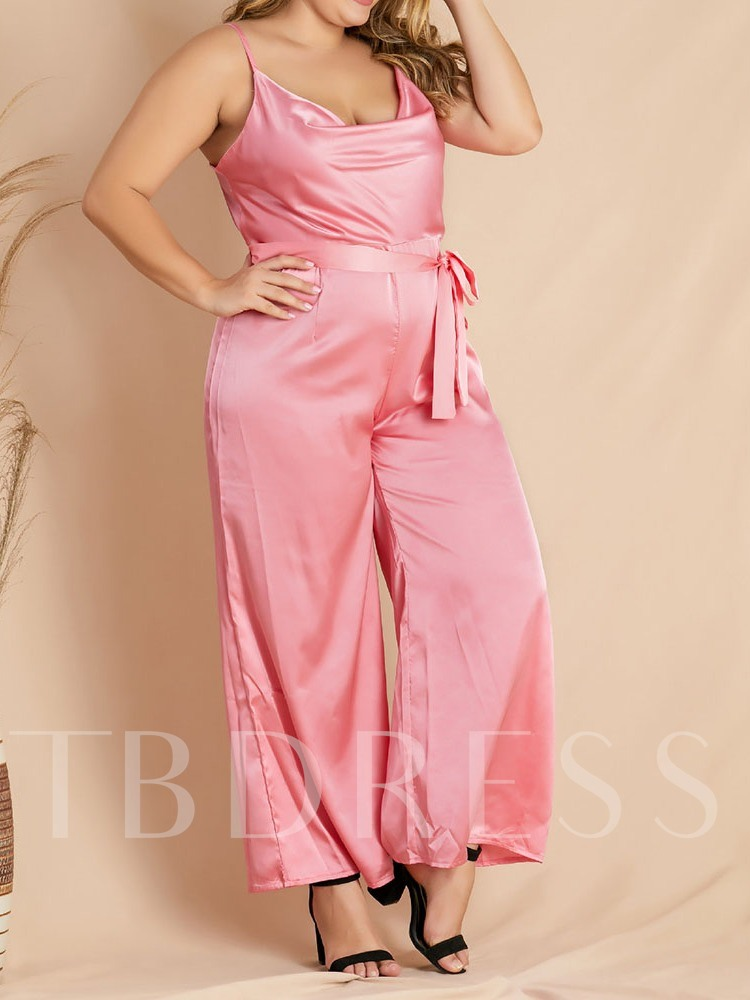 Plus Size Plain Lace-Up Ankle Length Fashion Loose Women's Jumpsuit