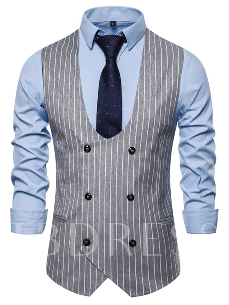 Print Stripe Color Block Double-Breasted Button Spring Men's Waistcoat