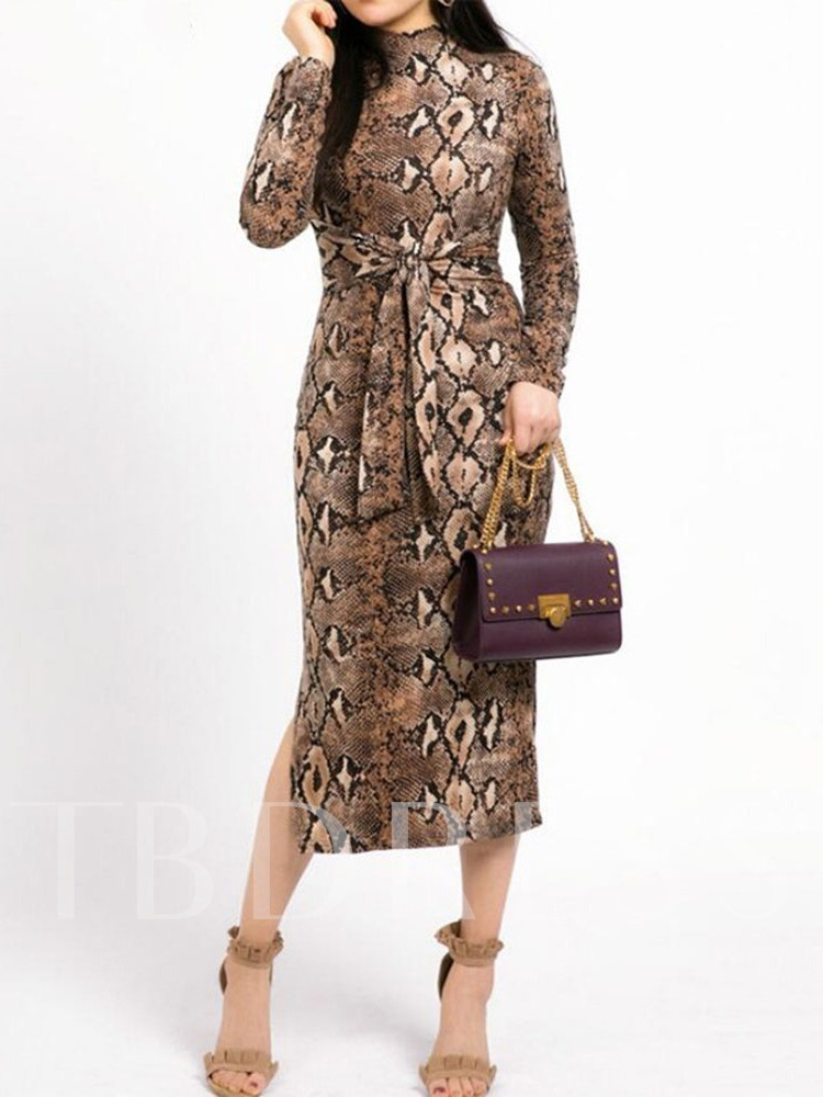 Print Serpentine Long Sleeve Mid Waist Women's Maxi Dress