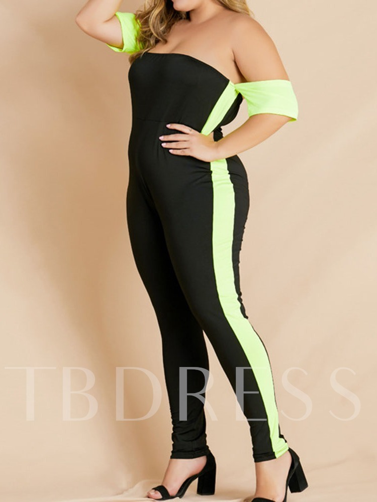 Plus Size Western Full Length Color Block Skinny Women's Jumpsuit