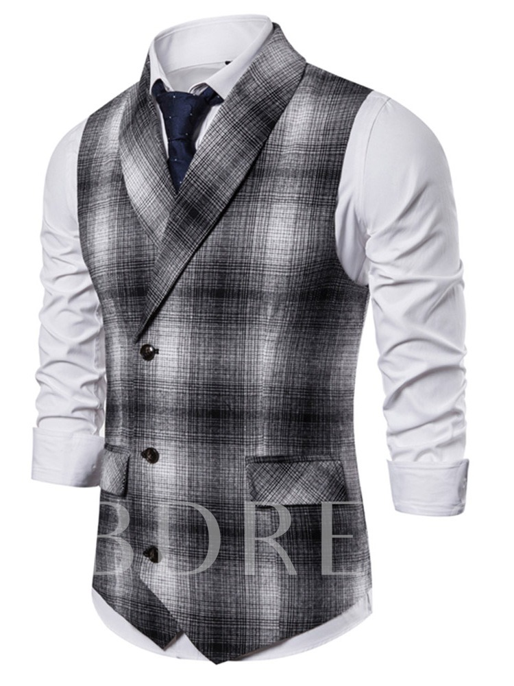 Fashion Color Block Double-Breasted Patchwork Color Block Fall Men's Waistcoat