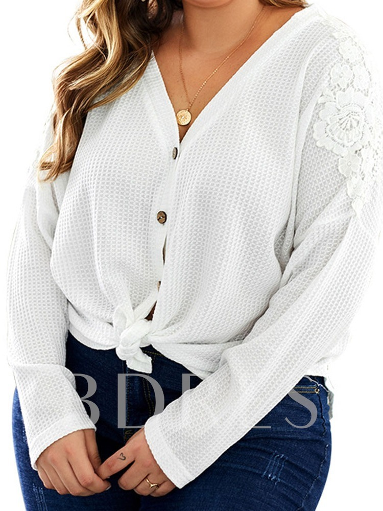 Plus Size Regular Single-Breasted Button Long Sleeve Women's Sweater