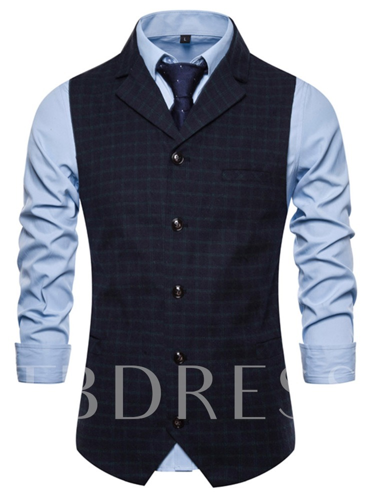 Classic Formal Business Slim Fit Dress Vest Suit Plaid Print Notched Lapel Men's Waistcoat