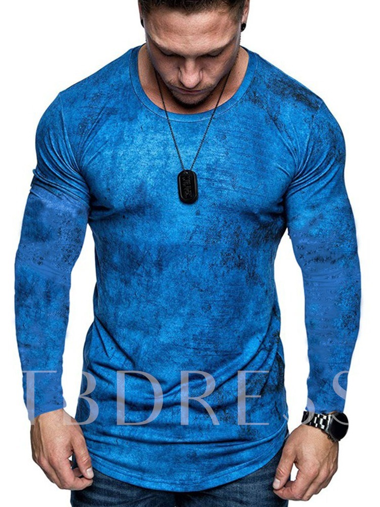 Casual Color Block Round Neck Long Sleeve Men's T-shirt