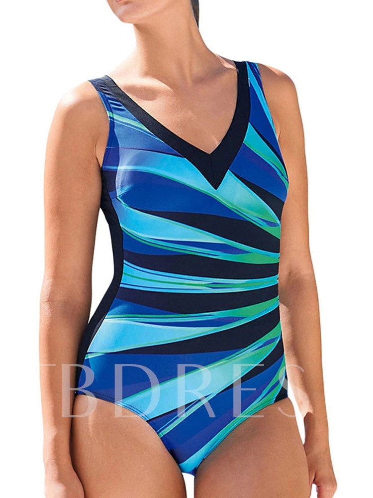 Sexy Color Block One Piece Print Women's Swimwear