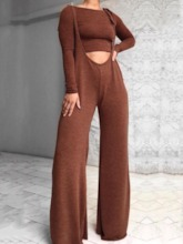 Plain Pants Fashion Round Neck Women's Two Piece Sets