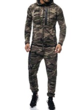 Casual Comfortable Cotton Camouflage Zipper Hoodie Ankle Length Pants Men's Outfit