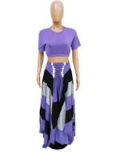 Lace-Up Skirt Western Color Block Round Neck Women's Two Piece Sets