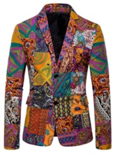 Single-Breasted Notched Lapel Casual Print Men's leisure Suit