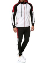Men's Casual Sports Suit Patchwork Striped Color Matching Color Block Casual Hoodie Winter Men's Outfit