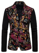 Casual Floral Single-Breasted Button Long Sleeves Slim Men's leisure Suit