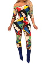 Fashion Color Block Full Length Print Pencil Pants Women's Jumpsuit