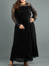 Plus Size Long Sleeve Round Neck Hollow Spring Women's Dress