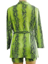 Print Coat Western Notched Lapel Women's Two Piece Sets