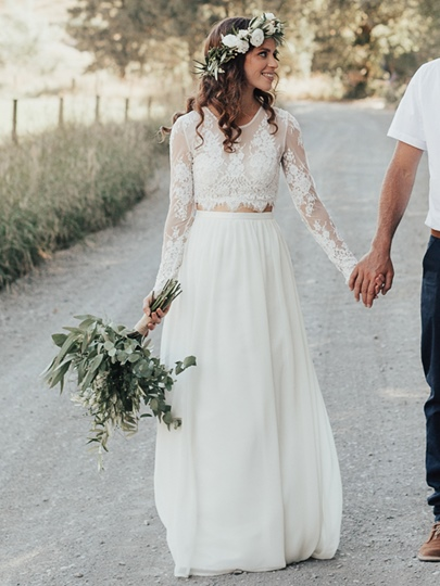 Boho Two Pieces Long Sleeves Lace Beach Wedding Dress 2019 Boho Two Pieces Long Sleeves Lace Beach Wedding Dress 2019