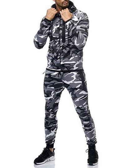 Casual Comfortable Cotton Camouflage Zipper Hoodie Ankle Length Pants Mens Outfit Casual Comfortable Cotton Camouflage Zipper Hoodie Ankle Length Pants Men's Outfit