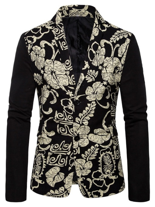 Casual Floral Print Notched Lapel Casual Print Single-Breasted Men's leisure Suit